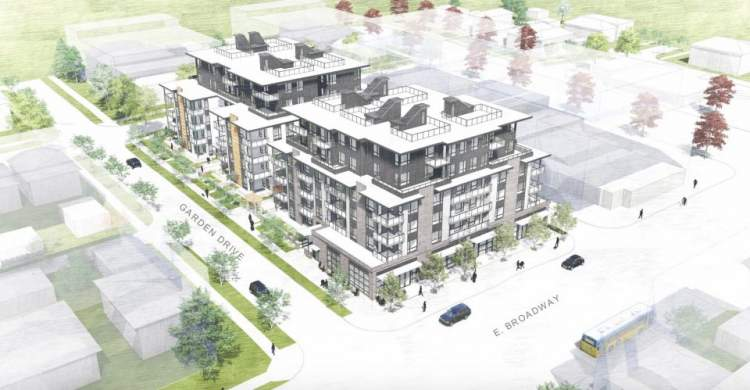 Birdseye view of proposed condominiums by Porte Homes located at Garden Drive and East Broadway.