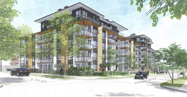 Artist's concept of Garden Drive condominiums viewed from the northwest.