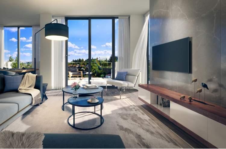 Artist concept of Savoy living room.