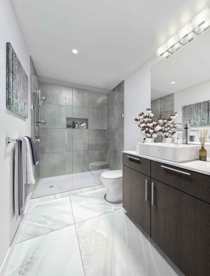 Walk-in shower with large format floor-to-ceiling porcelain wall tile, inset shower shelving and frameless glass door.