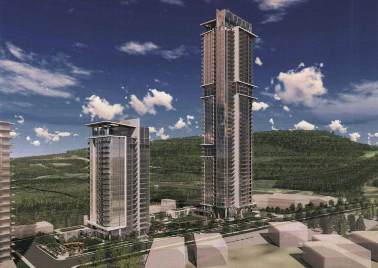 Artist rendering of proposed Burquitlam residential development near Burquitlam Station.