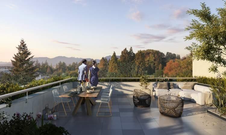 Rendering of Voyce rooftop and views