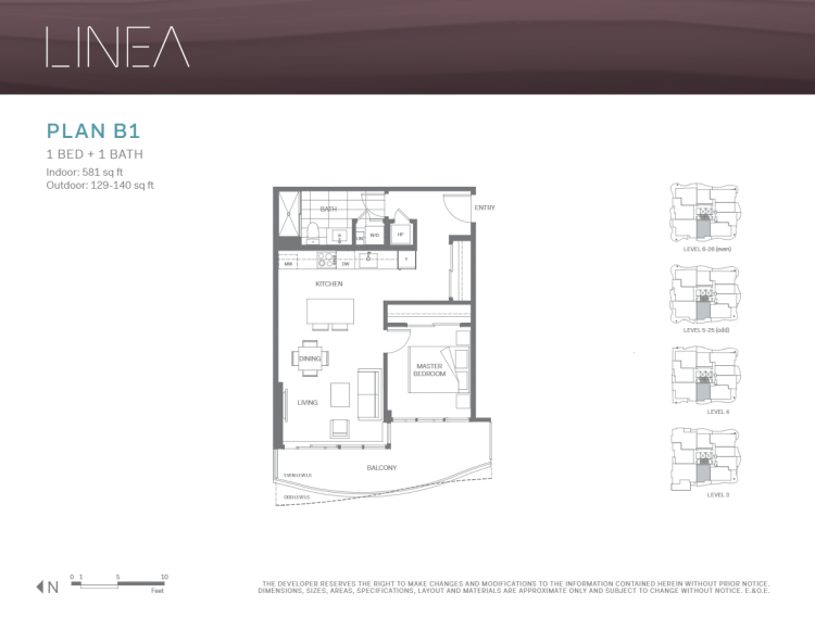 Floor Plans for Linea in Surrey 1 bedroom assignment