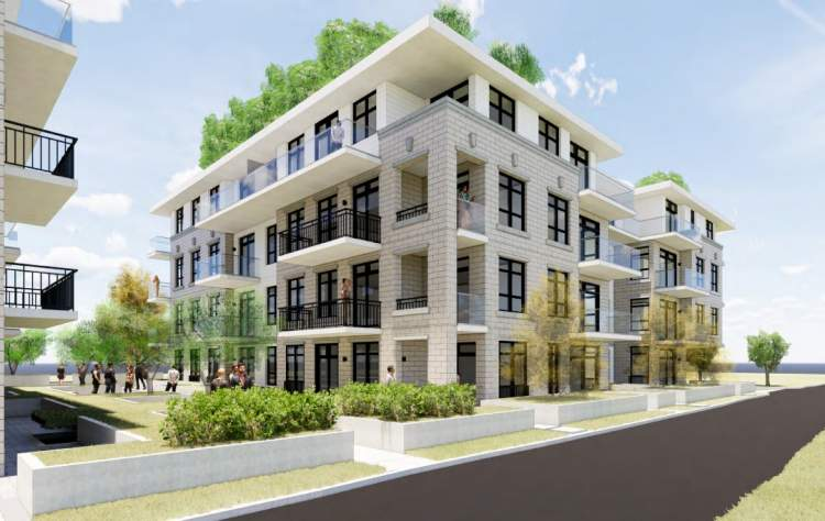 Lane view of Ash Street condominiums designed by Rositch Hemphill Architects.