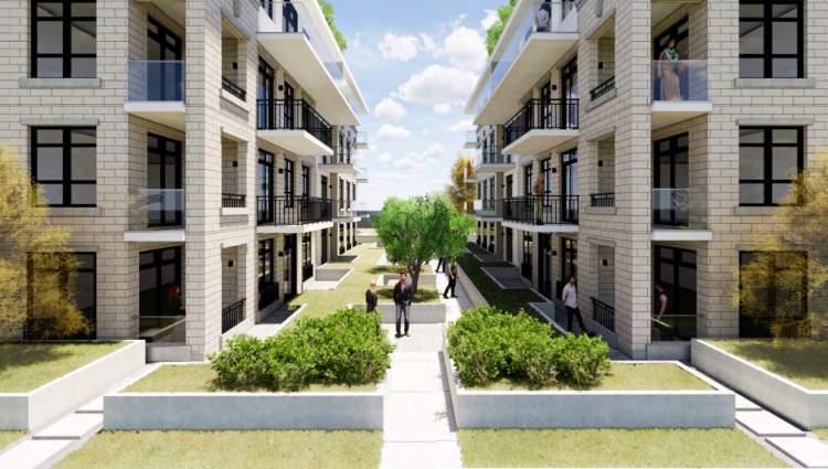 Artist's concept of plaza separating Ash Street condominium buildings.