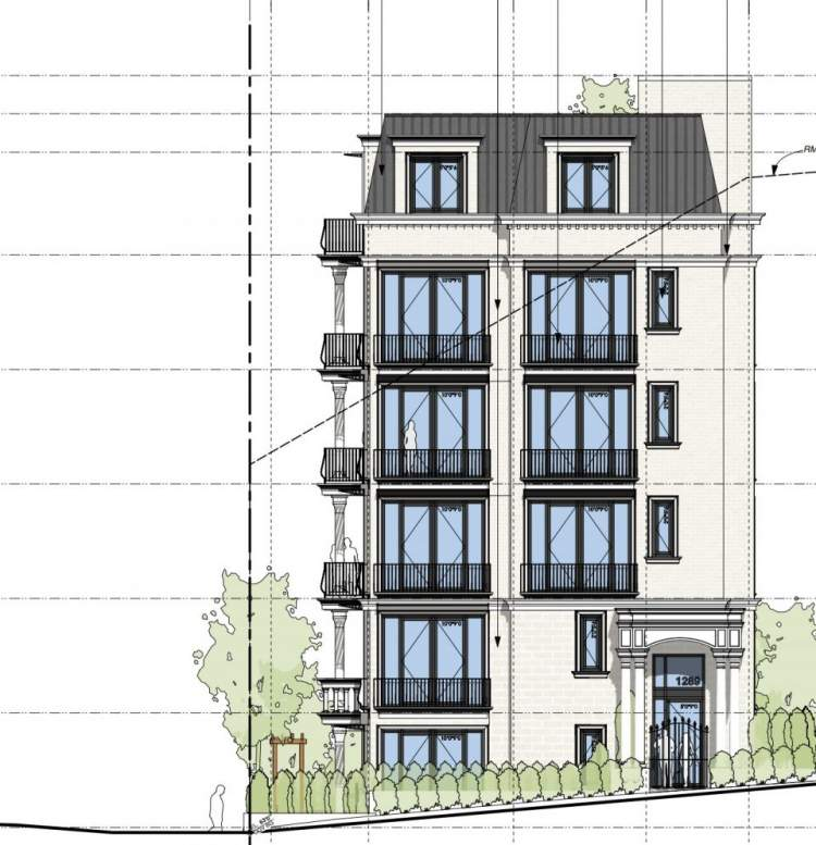 East elevation of Passive House condominium planned for the corner of Harwood and Nicola streets in Vancouver's West End.
