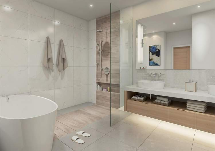 En suites feature Victoria + Albert freestanding tubs and vessel sinks.