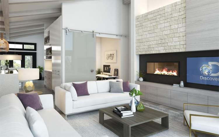 A contemporary fireplace conceals a retractable television.