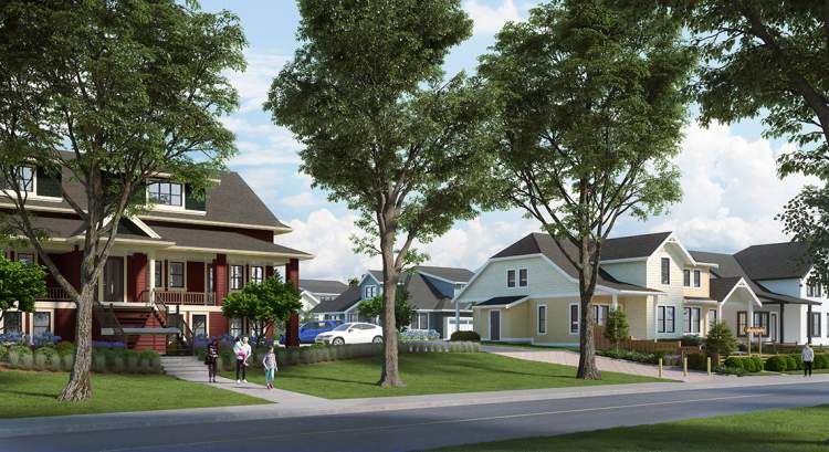 Rendering of Reunion as seen from 48 Avenue, showing the heritage schoolhouse and new townhomes.