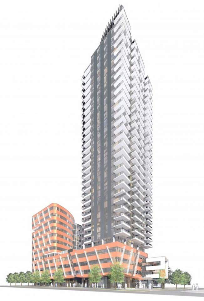 Artist's concept of a mixed-use development for Cambie and West 42nd Avenue designed by IBI Group.