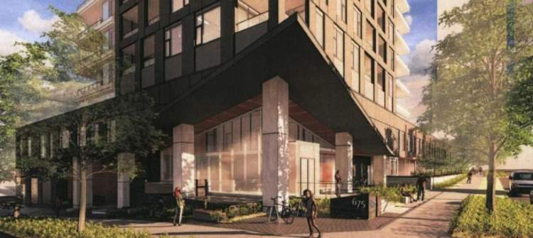 Rendering showing condo tower entrance at the corner of Whiting Way and Shephard Avenue.