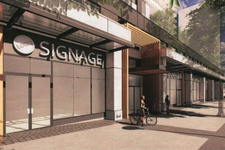 Rendering showing retail unit frontage and rental apartment entrance on North Road.
