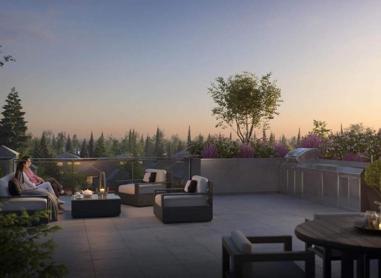 Fourth floor homes enjoy private rooftop patios as an extension of their living space.
