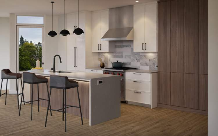 Kitchens feature appliances by Wolf, Fisher & Paykel and Blomberg with recessed under-cabinet task lighting and Kuzco modern pendant lighting above islands.