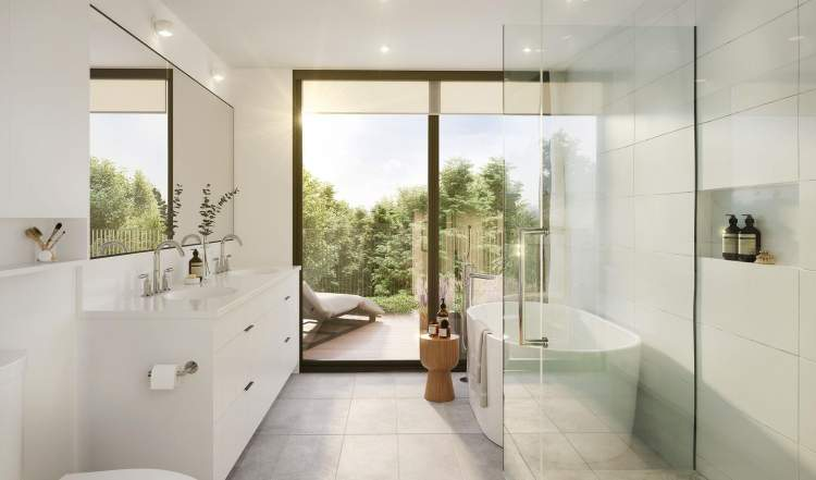 Unwind in luxurious bathrooms that combine relaxing comfort with enduring style.