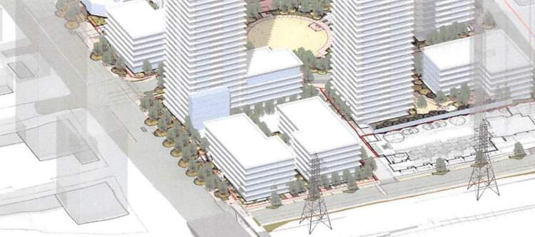 Two affordable rental woodframe lowrise buildings forms the southern portion of The Grove site.