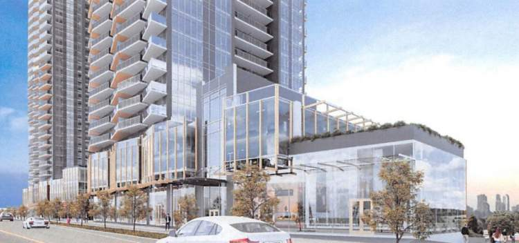 Rendering of The Grove showing the two mixed-use towers on Dawson Street.