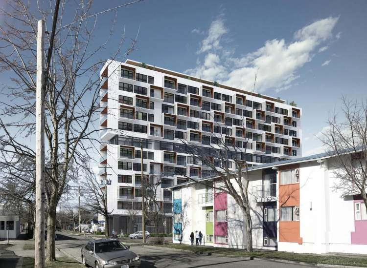 The West building is a 12-storey Mass Timber market highrise containing 179 homes.