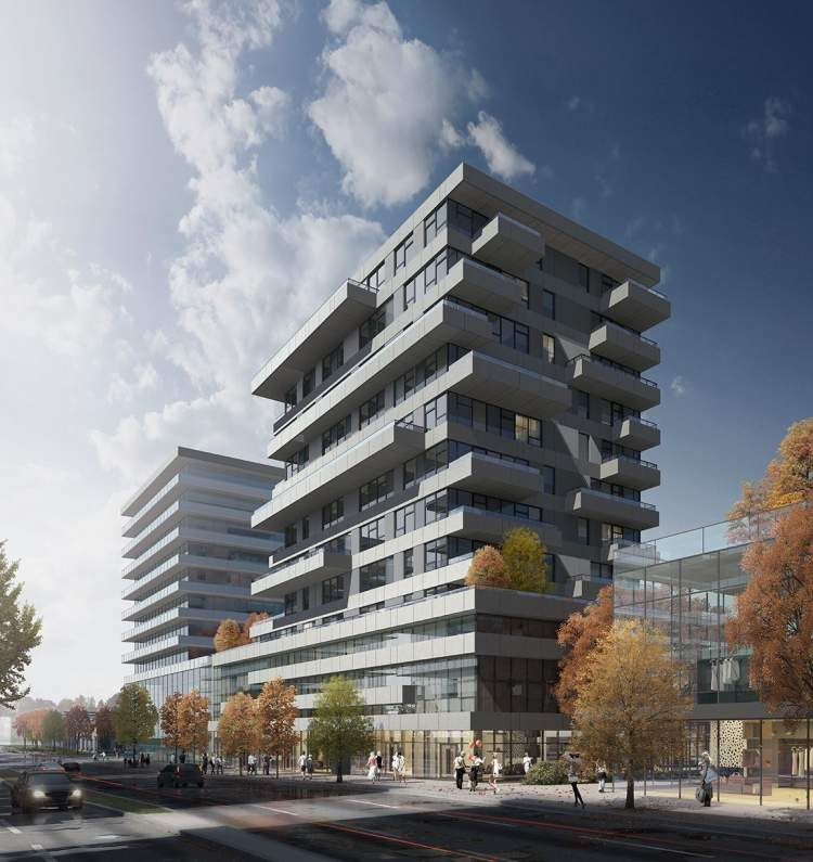 Granville Street view of mixed-use mid-rise approved for development in Marpole.