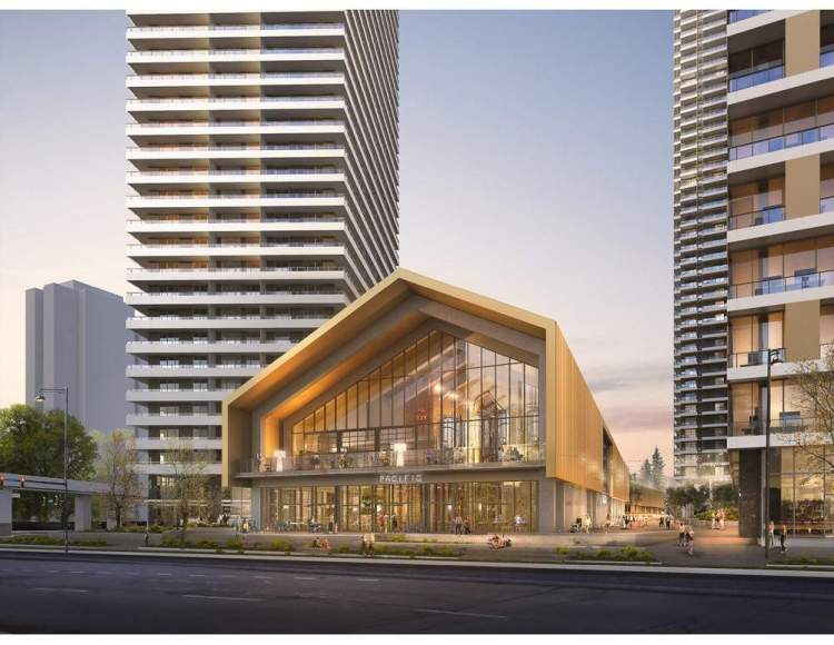 Rendering of BlueSky's Brightside development showing the central commercial building as seen from 104 Avenue.