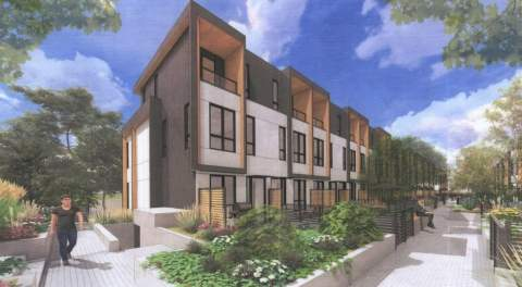 Render Of Townhomes Proposed For Ducklow Street And Smith Avenue In Burquitlam.