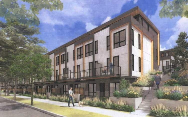 Proposed Burquitlam townhomes designed by Integra Architecture as seen from Smith Avenue.