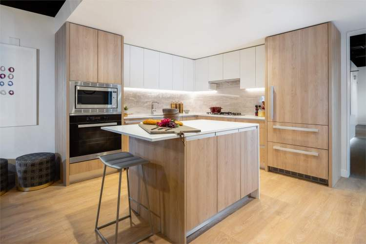 Rendering of One park's high-functioning gourmet kitchen.