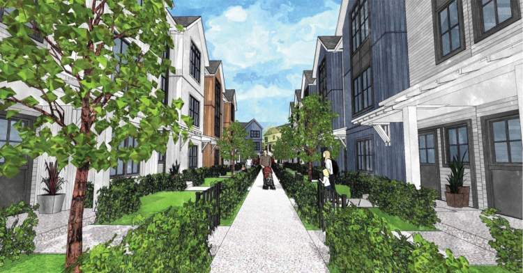 Street trees and plantings are generously distributed throughout the site, including along internal strata mews and laneways.