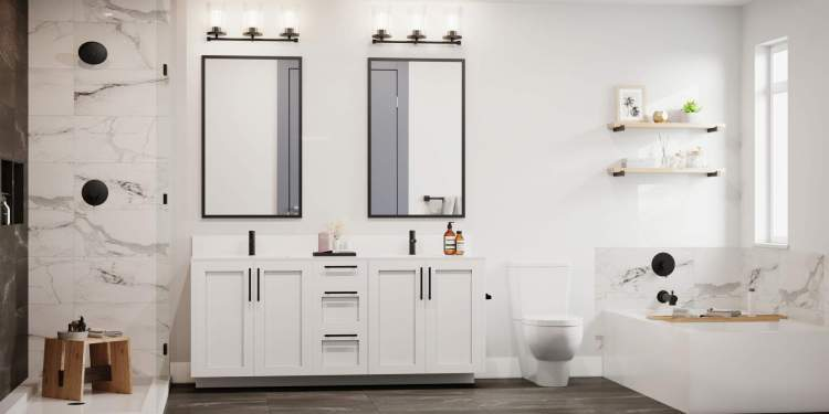 Your en suite retreat features elegant Italian tiles with a long marble shower niche and a twin vanity.