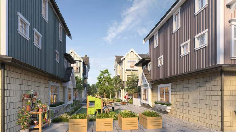A central mews offers landscaped seating, a children's play area, and a herb garden.