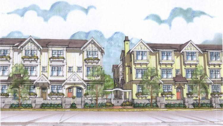 Artist's illustration of The Robinsons as viewed from Robinson Street, Burquitlam.
