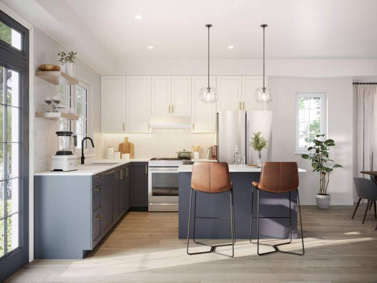 Release your inner chef with KitchenAid stainless steel appliances package and a kitchen island or peninsula for plenty of prep space.