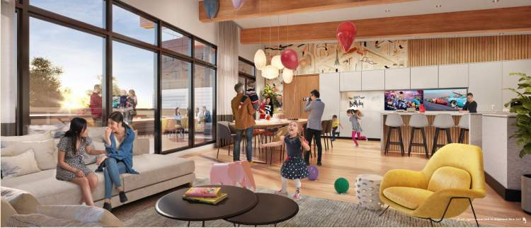 The bright and modern two-level building houses engaging amenities for all ages.