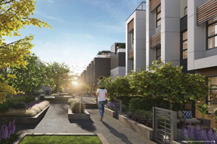 Throughout the Kin community, beautiful landscaping outlines quiet courtyards, where residents can sit for a moment in the sun.
