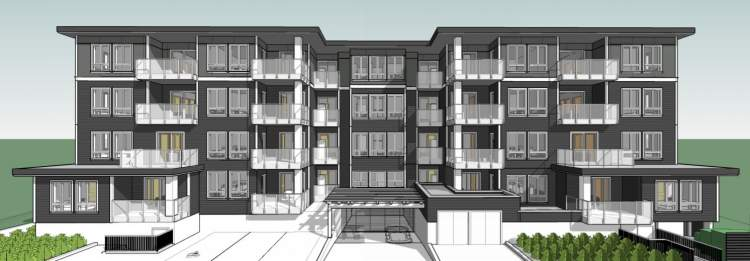 View of proposed 4-storey Norquay Village condo building as seen from the lane.