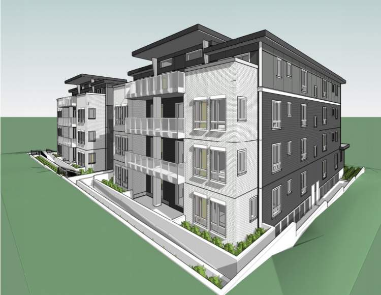 Northeast perspective of 4-storey East Vancouver condo building proposed at Slocan & Kingsway.