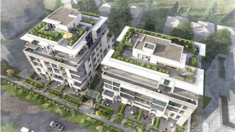 Birdseye view of proposed condos and townhomes on the Cambie Corridor in South Vancouver.