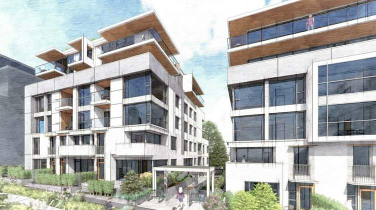 Artist rendering of entrance to proposed residential buildings at 7730-7770 Cambie Street.
