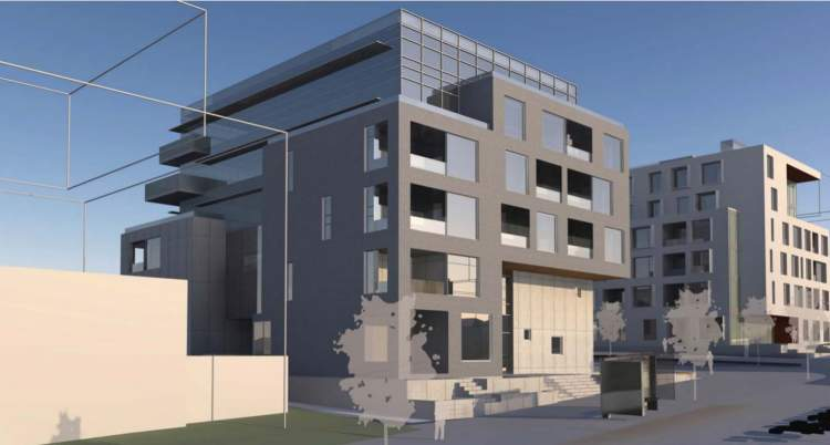 Southeast perspective of proposed Cambie Corridor strata building facing Cambie Street
