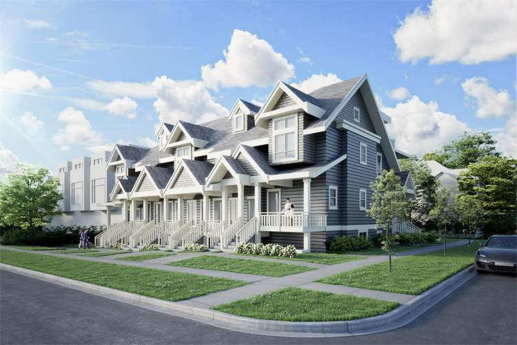 Artist rendering of Chambers Townhomes looking southwest from the corner of East 34th Avenue & Chambers Street.