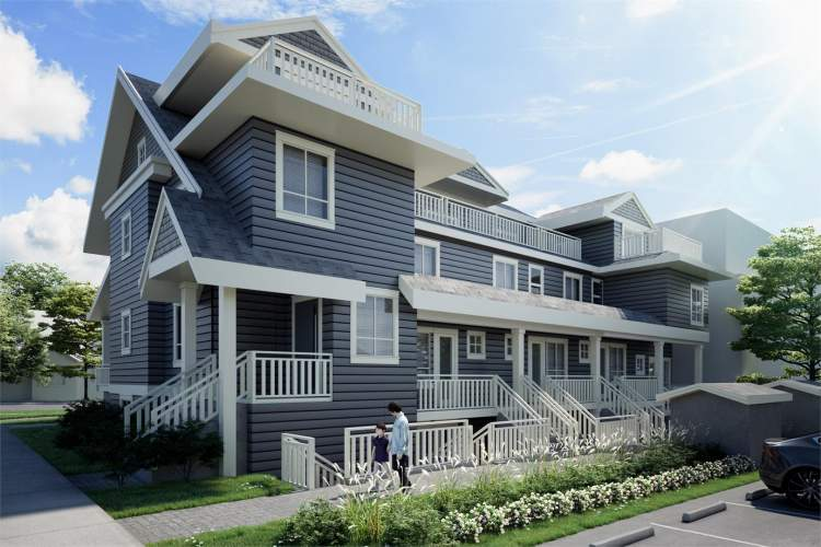 Artist rendering of Chambers Townhomes showing view from the lane.
