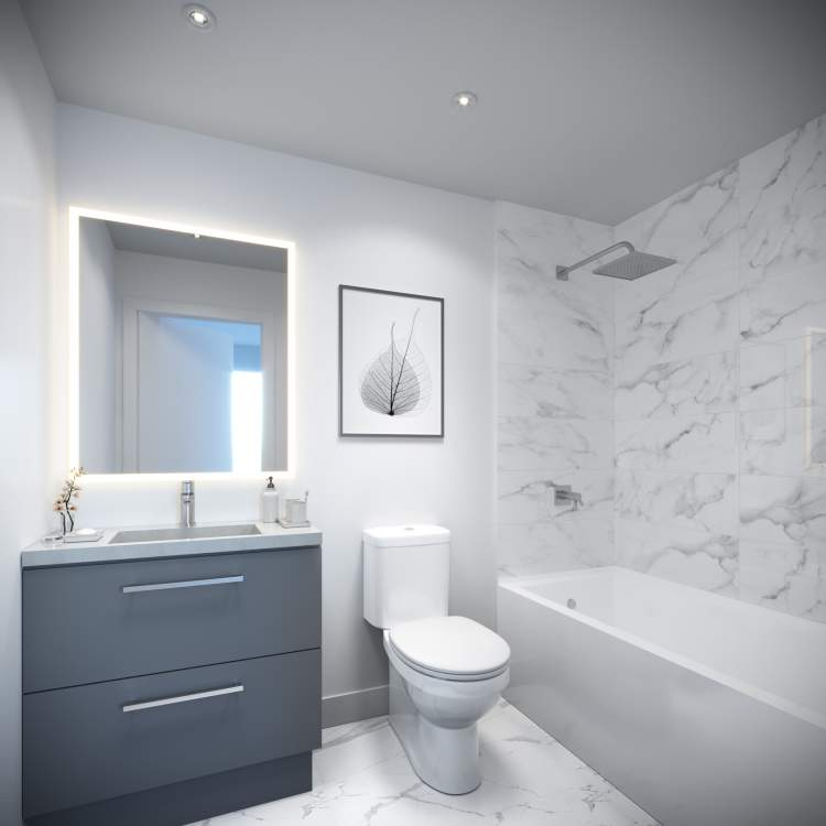 Refined bathrooms feature marble-inspired Carrara porcelain floor & wall tiling.