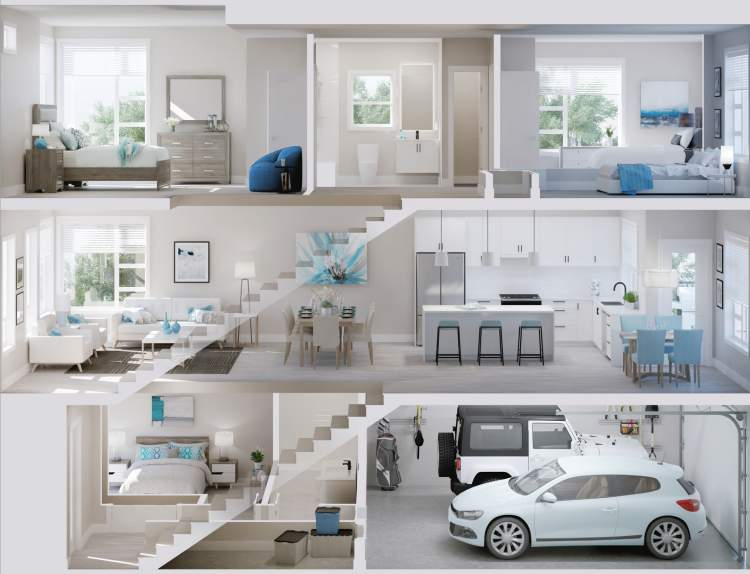 Open-concept design comes in a choice of two interior colour schemes.