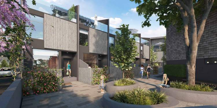 Rhodo includes three townhouse clusters centred around a lush internal mews.