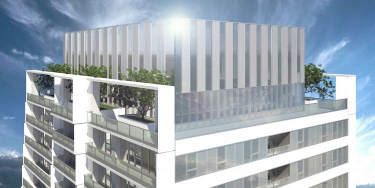 Artist rendering showing the detail of the condominium tower roof.