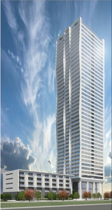 Proposed Metrotown market condominium tower, townhomes, and subsidized rental apartments.