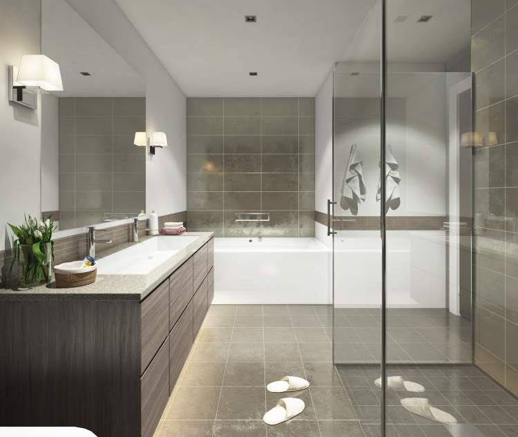 Full-length curbless shower with frameless glass doors, linear drain, shower bar, rain shower head.