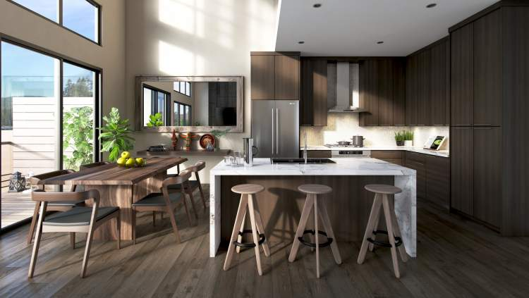 Marble countertops with waterfall returns, uniquely textured wall treatments, the warmth of West Coast wood, a choice of light or dark palette.