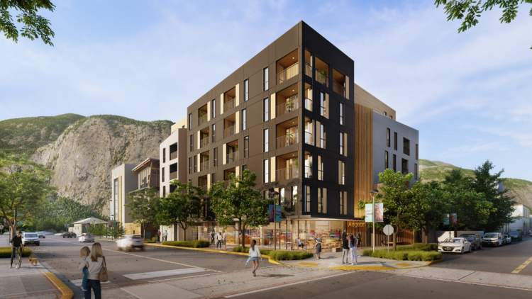 Coming soon to downtown Squamish, a 6-storey mid-rise with condominiums and ground-floor retail units.