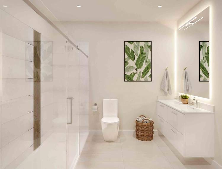 Spa-like washrooms are designed for relaxation with roomy soaker tubs.